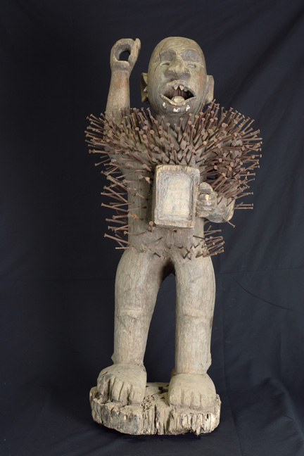 Congolese fetish of Nkisi Nkondi, a female power figure, with nails, collection BNK, Royal Tribal Art