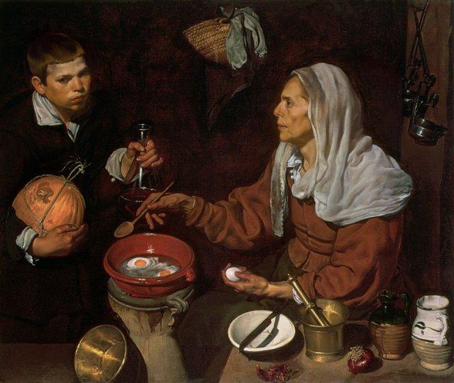 Alte Frau beim Eierbraten, 1618  Edinburgh, National Gallery of Scotland